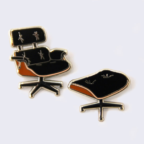 Giant Robot - Eames Lounge Chair & Ottoman Enamel Pin Set