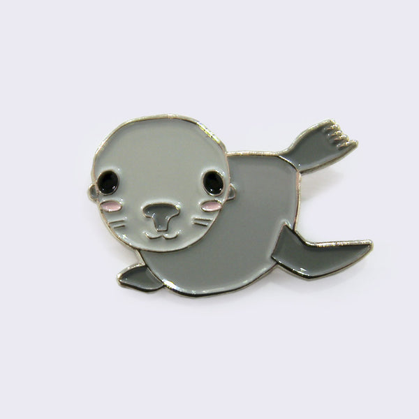 Giant Robot - Gray Baby Seal (Pinniped) Enamel Pin