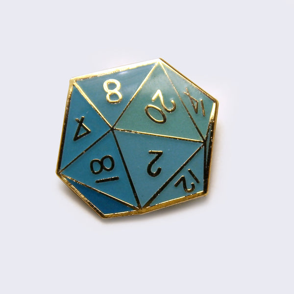 Giant Robot - Twenty-Sided Die Enamel Pin (Turquoise: Glow-in-the-Dark)