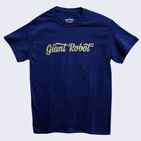 Giant Robot - Script Logo T-shirt (Navy Blue / Yellow Ochre)