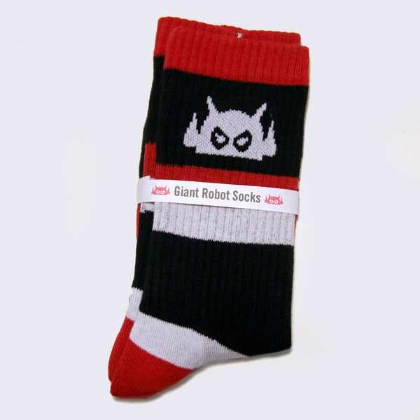 Giant Robot - Big Boss Robot Socks (Red, Black & Light Gray)