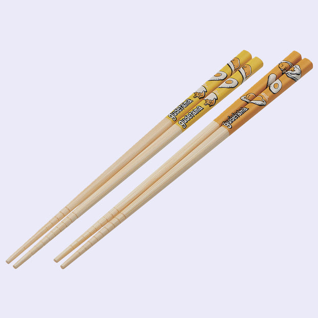 Gudetama Bamboo Chopsticks - 2 Piece Set (Yellow and Light Orange)