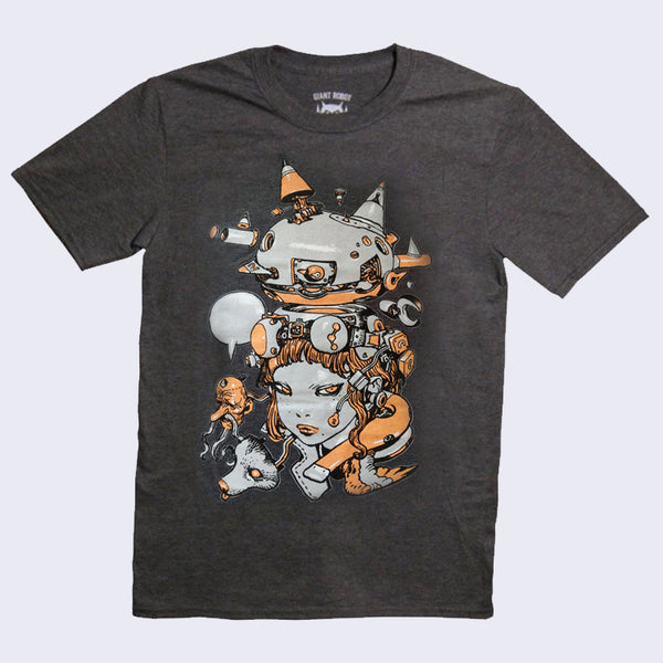 Katsuya Terada X Giant Robot - Girls T-shirt (Heather Grey with Orange)