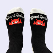 Giant Robot - Big Boss Robot Socks Black, White, Tomato Orange