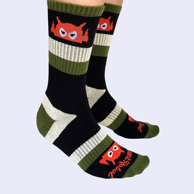 Giant Robot - Big Boss Robot Socks - Military Stripes with Safety Orange