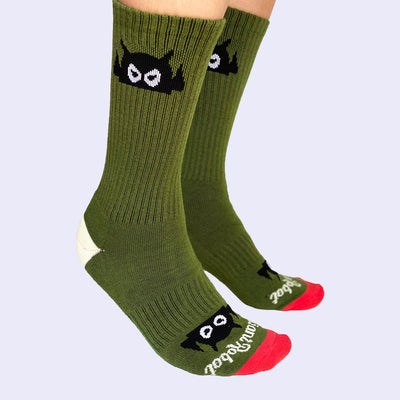 Giant Robot - Big Boss Robot Socks - Military Green with Tomato Toes
