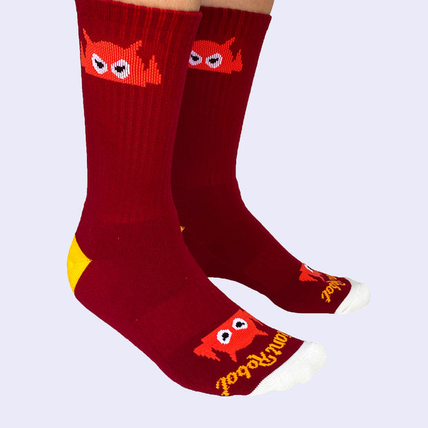 Giant Robot - Big Boss Robot Socks - Maroon, Gold, and Tomato Red