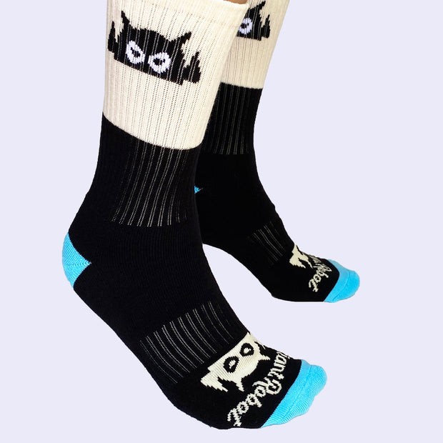 Giant Robot - Big Boss Robot Socks - Black, Cream, and Light Blue