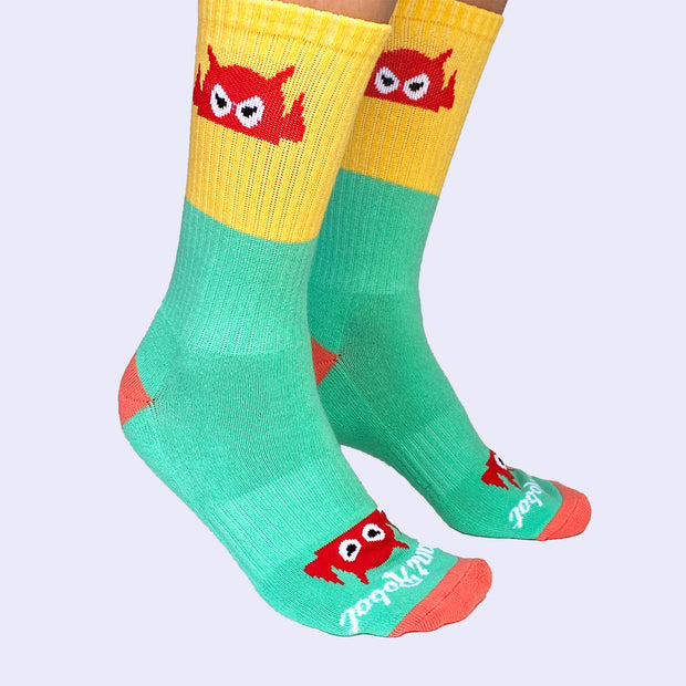 Giant Robot - Big Boss Robot Socks - Mint, Yellow and Salmon