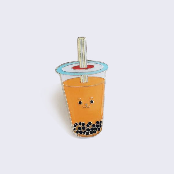 Giant Robot - Boba Bubble Tea Enamel Pin (Thai Iced Tea)