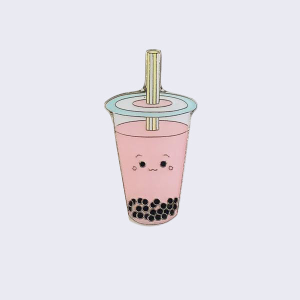 Giant Robot - Boba Bubble Tea Enamel Pin (Strawbery Milk Tea)