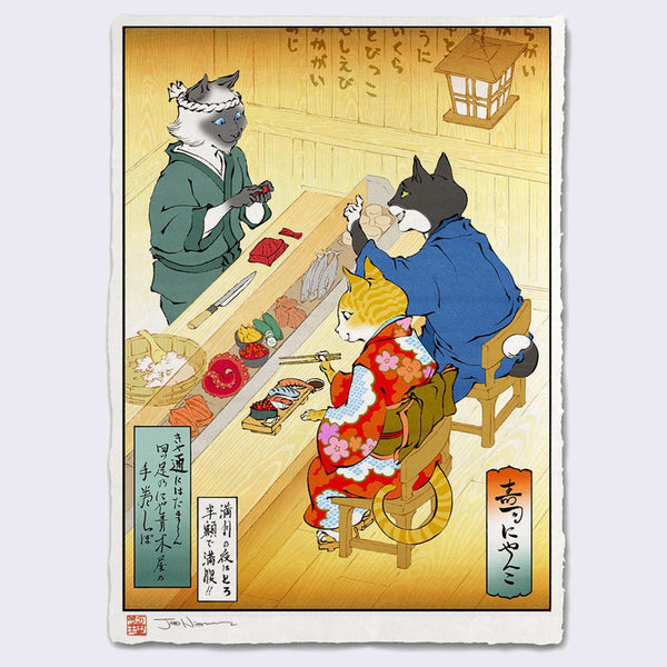 Jed Henry - Sushi Cats Giclee Print