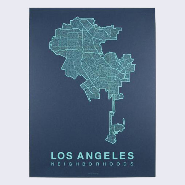 Native Maps Los Angeles Print (Teal on Navy)