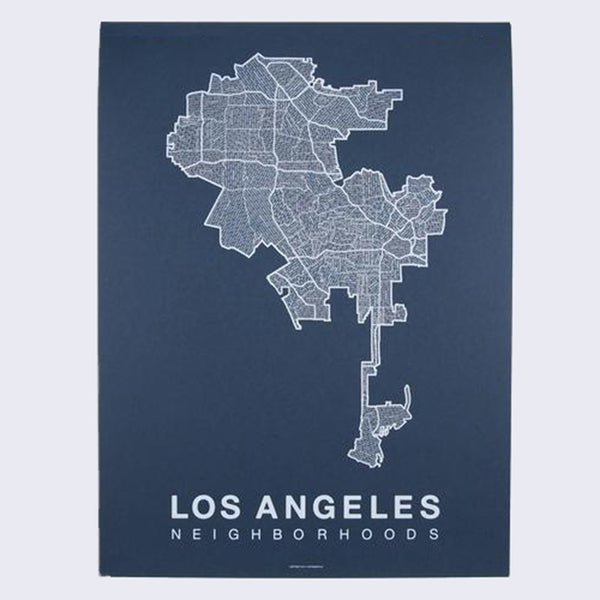 Native Maps Los Angeles Print (White on Navy)