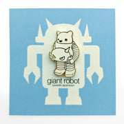 Luke Chueh x Giant Robot - Robot Bear Enamel Pin (White and Gold)