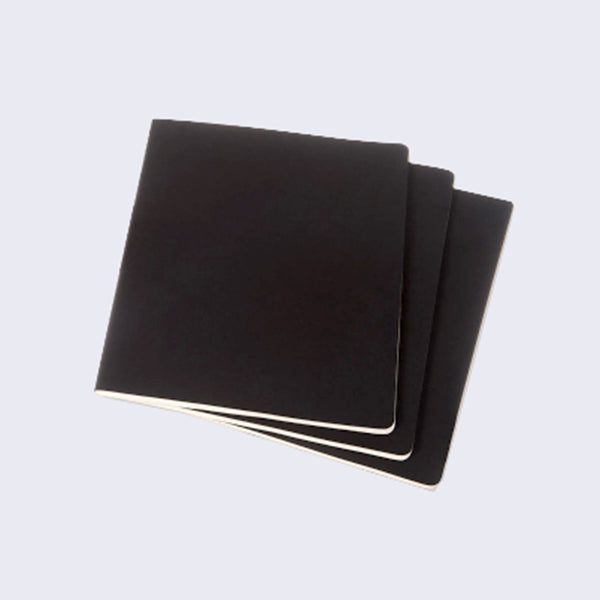 Moleskine Set of 3 Plain Black Notebooks (Small)