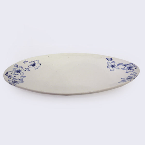 Mari Nakamura - Ceramic Serving Plate (Blue Flowers)