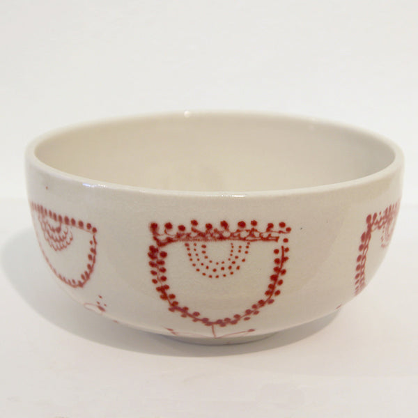 Mari Nakamura - Ceramic Bowl (Red Geometric Flowers)