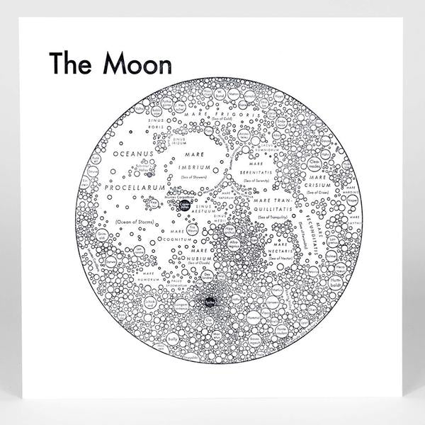 Archie's Press - Circle Map of the Moon - Large Silkscreen Print (white)
