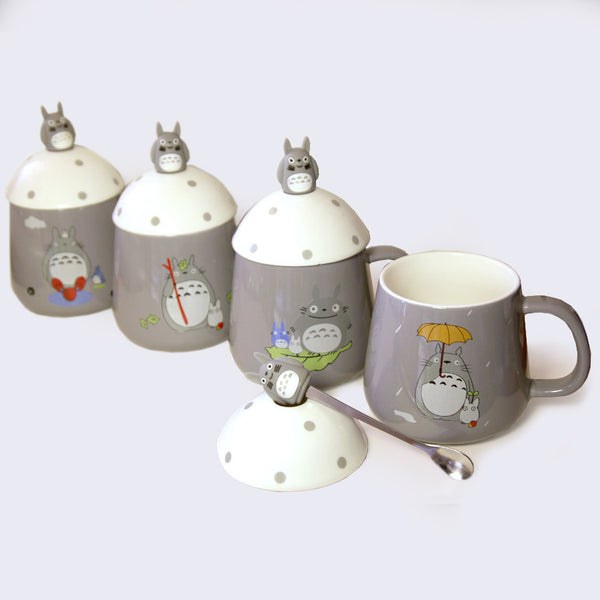 Totoro Mug & Spoon Set (Assorted Gray)