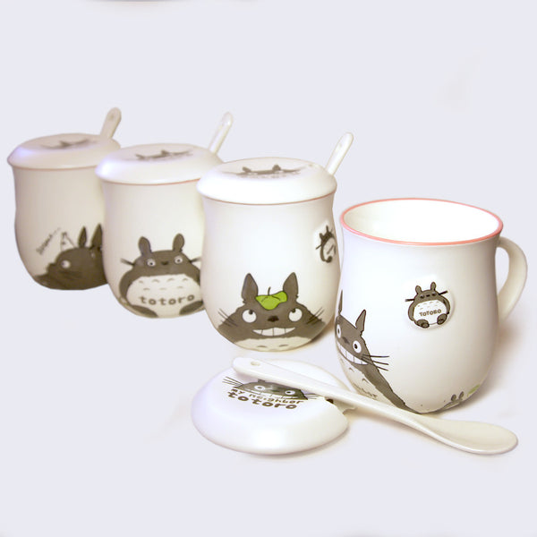 Totoro Mug & Spoon Set (Assorted White)