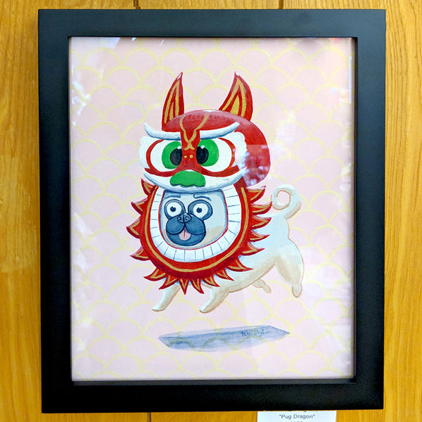 Nikki Longfish - Pug Dragon (framed original/unframed print)