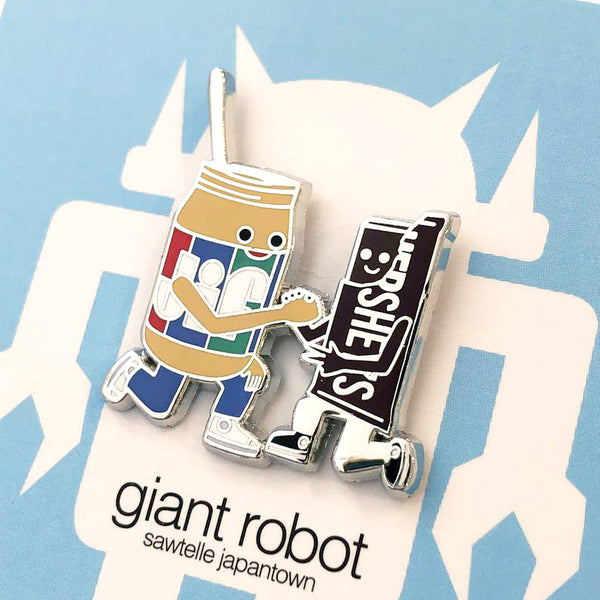 Giant Robot - Peanut Butter and Chocolate Friends Forever Enamel Pin