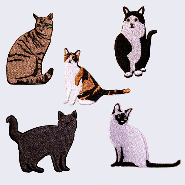 Iron on Embroidered Cat Patches (Set of 5)