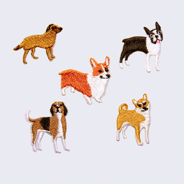 Iron on Embroidered Dog Patches (Set of 5)