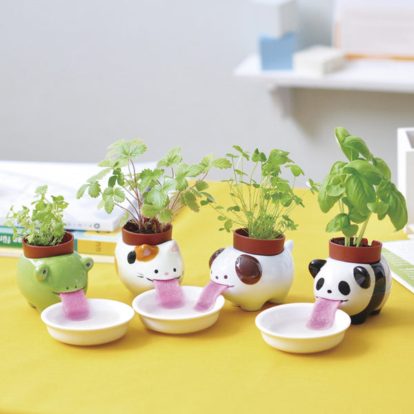 Peropon - Self-Watering Animal Planter (Panda & Basil)
