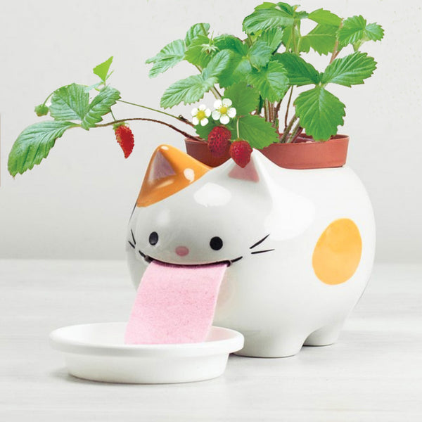 Peropon - Self-Watering Animal Large Papa Planter (Cat & Strawberry)