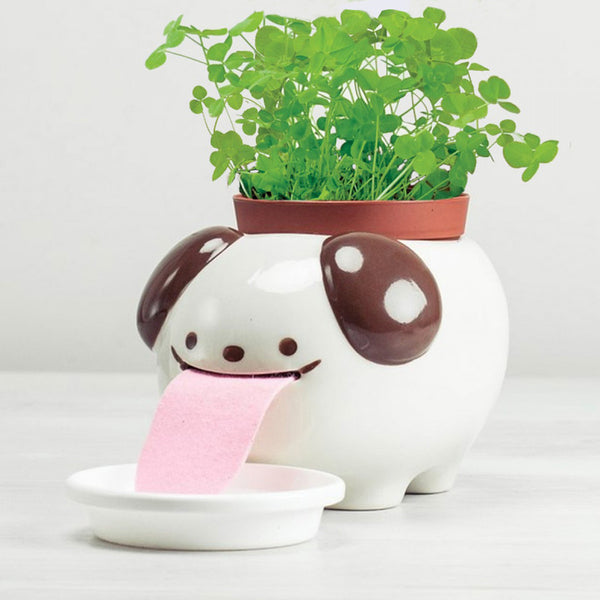 Peropon - Self-Watering Animal Large Papa Planter (Dog & Clover)
