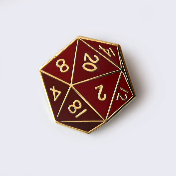 Giant Robot - Twenty-Sided Die Enamel Pin (Red)