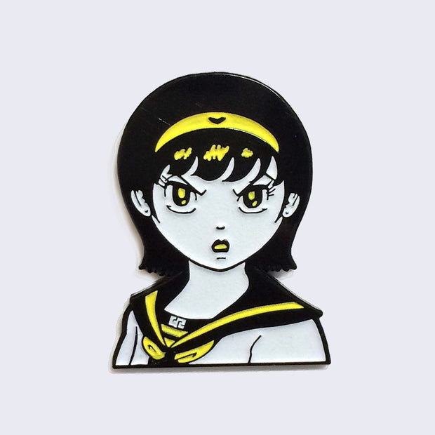 Giant Robot - Angry Girl Enamel Pin (Glow-in-the-Dark)