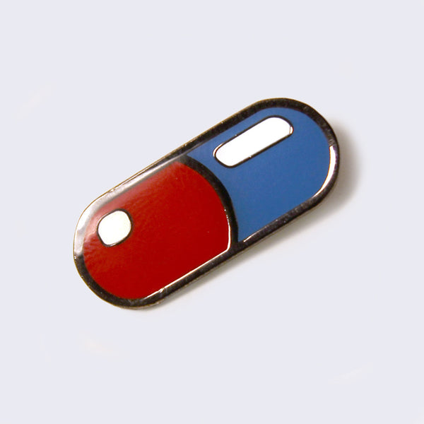 Giant Robot - Capsule / Red pill - blue pill / Enamel Pin (Glow-in-the-Dark)