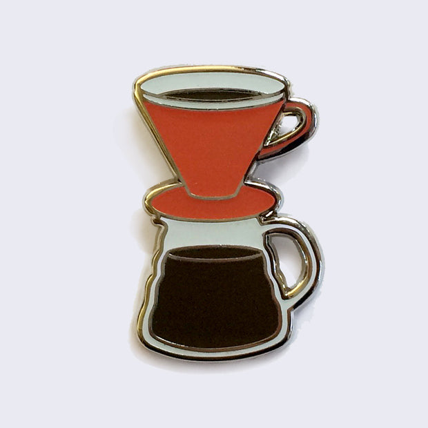 Giant Robot - Pour Over Coffee Enamel Pin (Glow-in-the-Dark)