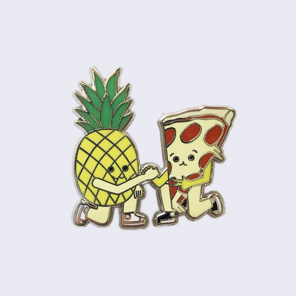 Giant Robot - Pineapple and Pizza Friends Forever Enamel Pin
