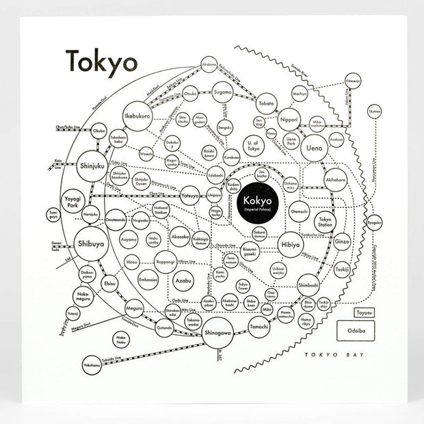 Archie's Press - Circle City Map Letterpress Print (Tokyo)