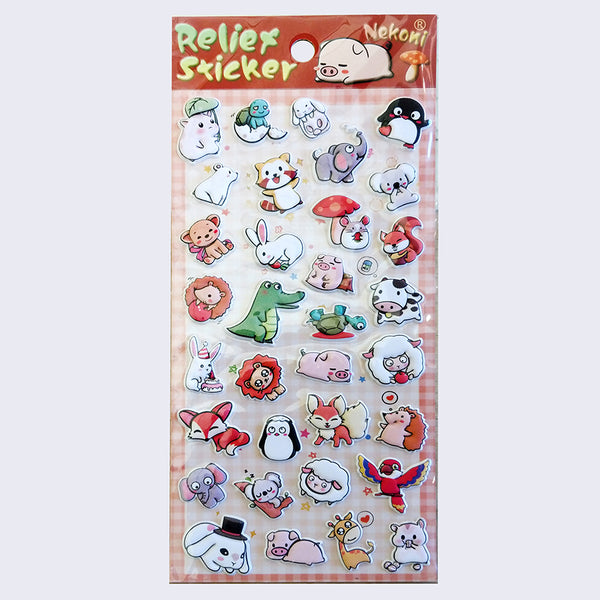 Nekoni Relief- Puffy Animals Sticker Sheet