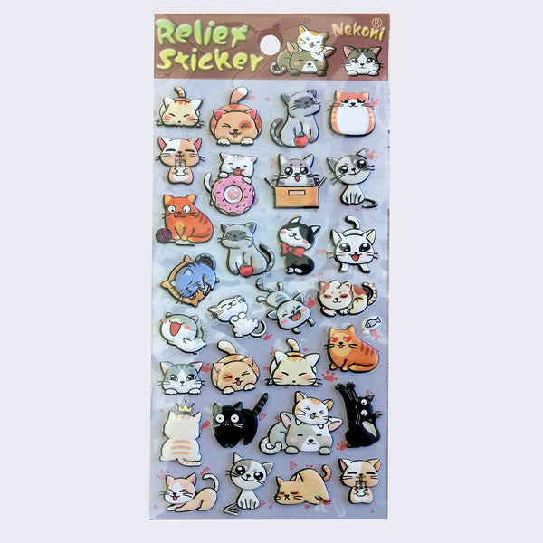 Nekoni Relief- Puffy Cats Sticker Sheet