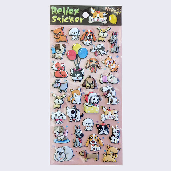 Nekoni Relief- Puffy Dogs Sticker Sheet