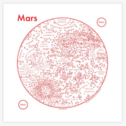 Archie's Press - Circle Map of Mars - Large Silkscreen Print (white)