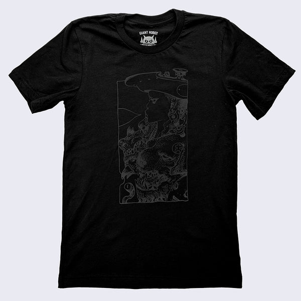 Katsuya Terada X Giant Robot - Rakugaking T-shirt (Shiny Black on Black)