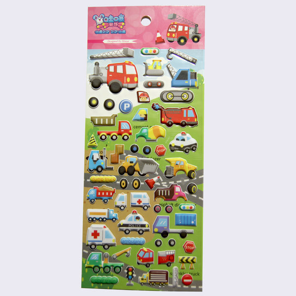 Kawaii Stickers - Puffy Vehicles