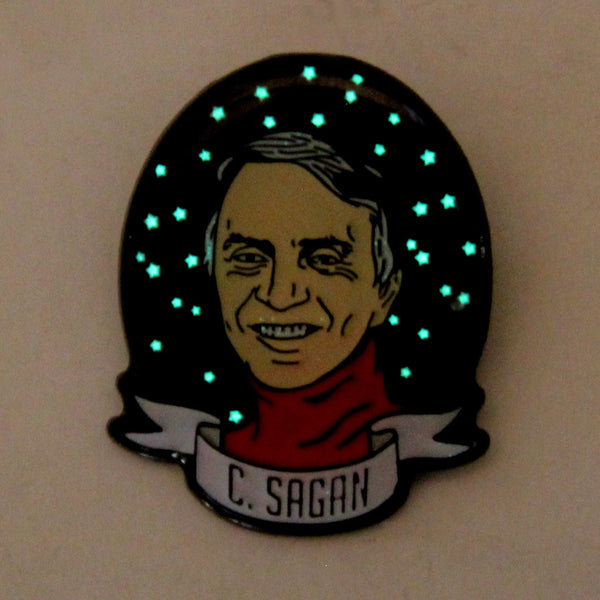 Take A Penny Co. - Science Heroes: Carl Sagan Enamel Pin (Glow-in-the-Dark)