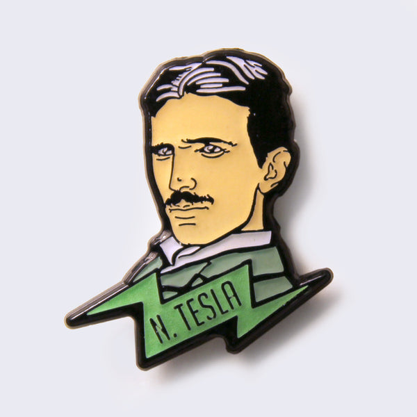 Take A Penny Co. - Science Heroes: Nikola Tesla Enamel Pin (Glow-in-the-Dark)