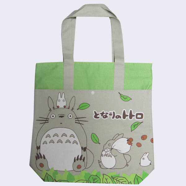 Totoro Canvas Shopping Tote Bag (Green Leaves)