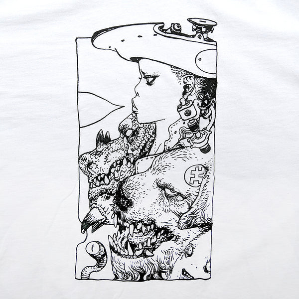 Katsuya Terada X Giant Robot - Rakugaking T-shirt (Black on White)