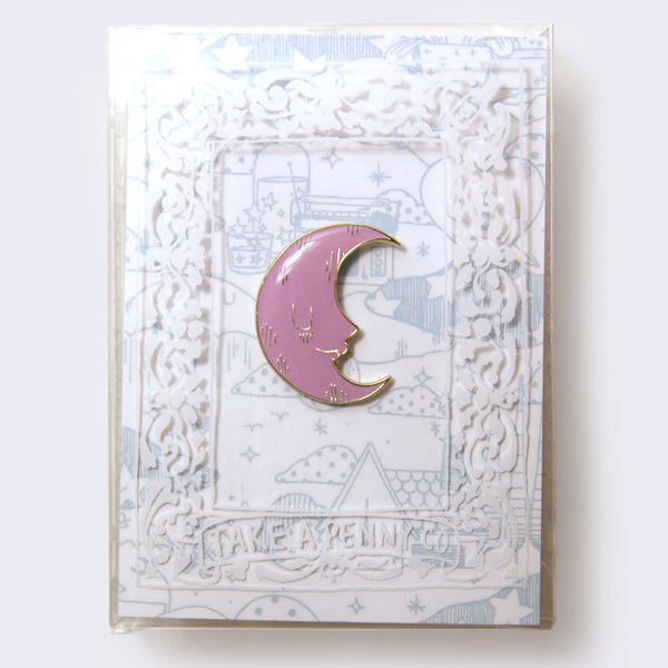 Take A Penny Co. - Artist Series: Yoskay Yamamoto Purple-Pink Moon Enamel Pin (Glow-in-the-Dark)