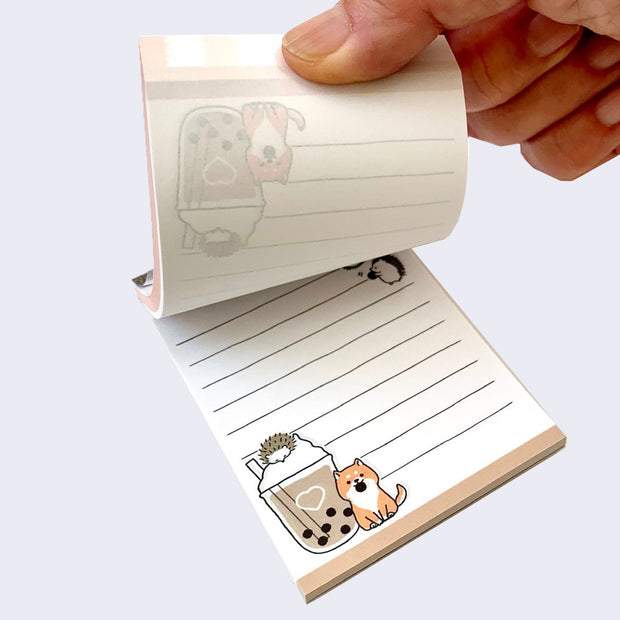 Shiba Inu and Hedgehog Boba Mini Notepad